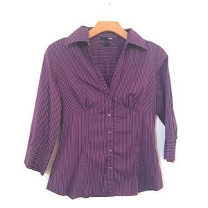 H&M Gorgeous eggplant colored striped button down